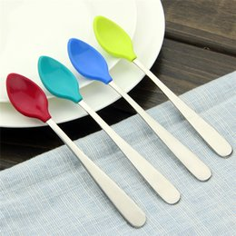 Wholesale Infant Stocking Wholesale - 4-pieces Baby Spoon Children Soft Silicone Utensil Safety Tableware Infant Solid Feeding Spoons Flatware for Kids