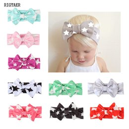 Wholesale Scarf Bow Baby Girl - baby boy and girl headband Cute five-Star Printed Bow knot Hair band With Baby Headdress Milk Silk Child Scarf hair accessories