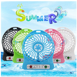 Wholesale Usb Ventilation Fan - Mini Fan Portable Multifunctional Rechargeable USB Fan Adjustable 3 Speed Cool With LED Light With Retail Pacakge 5 Color