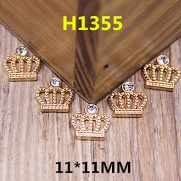 Wholesale Princess Crown Stickers - Wholesale-Wholesale 100PCS Flatback Gold Tone Alloy Princess Crown Button Patch Stickers Fit for Handmade Craft Girls Hair Jewelry Decor