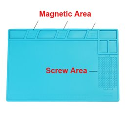 Wholesale Solders Station - Magnetic Heat-resistant Silicone Pad Desk Mat Maintenance Platform Heat Insulation BGA Soldering Repair Station with 26cm Scale Ruler
