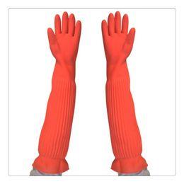 Wholesale Glove Housework - Lengthen ultra long 55cm waterproof rubber gloves bowl dish latex gloves Rubber gloves (wash car and do housework)