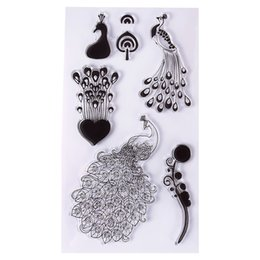 Wholesale Photo Album Heart - Wholesale- 1Pc Lovely Peacock Heart Silicone Transparent Clear Seal Stamp DIY Scrapbooking Photo Album Diary Craft #94567
