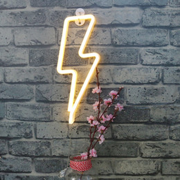 Wholesale Led Light Wall Decor - Neon Lightning Shaped Neon Sign Wall Neon Night Light, LED Indoor Decor Night Lamps, Battery and USB Power, Nice Decoration for Home Party