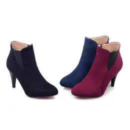 Wholesale sexy shoes small heels - Fashion Sexy high-grade new winter choke a small pepper matte surface pointed high-heeled boots side zipper shoes tide