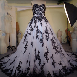 Wholesale Long Gothic Dresses - 2017 Gothic Wedding Dresses Black And White Lace Sweetheart Bridal Gowns A-line Long Real Photo Informal Dress For Brides