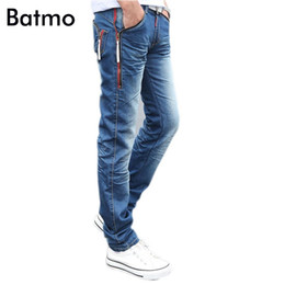 Wholesale Modern Clothing Patterns - Wholesale- Batmo 2017 spring male Zipper pockets blue jeans men's clothing trend slim small trousers male casual pencil pants