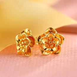 Wholesale 24k Gold Stud Earrings - New arrival Fashion Jewelry Stud Earrings Flower Hoope Earrings Plated 24K Gold Earrings XL20494T