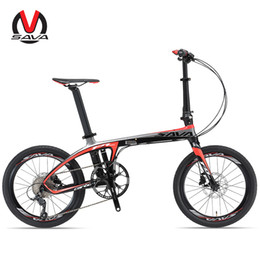 Wholesale Folding City Bike - SAVA 20 inch Folding Bike T700 Carbon Fiber Frame Ultralight SHIAMNO 9 Speed 3000 Derailleur System Mini Compact City Tour Bike Disc Brake