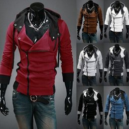 Wholesale Mens Oblique Hoodie - Assassin Creed Mens Slim oblique zipper sweater coat jacket Hoodie jacket free shipping 12 colors M-6XL
