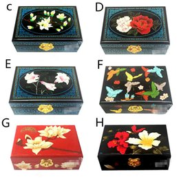 Wholesale Wooden Lacquer Jewelry Box - Lacquer Embroidery Jewelry Storage Box Chinese Wedding Gifts Bride Room Decoration Handmade Wooden Double Layer Made In ChengDu