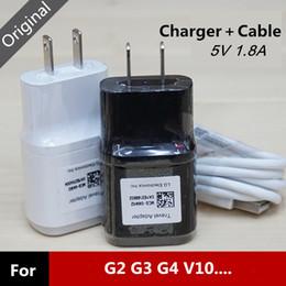 cabo lg g3 Desconto Original 5 v 1.8a eua plugue adaptador de carregador de parede com cabo micro usb para lg g3 g4 v10 nexus 5 mcs-04ed + 20awg