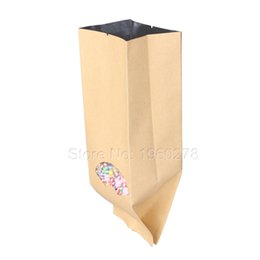 Wholesale Gusset Bags Wholesale - 15 Wire Thickness 100pcs 9x26cm(3.5x10.25in) Tear Notches Brown Kraft Paper Side Gussets Open Top Bags With Window