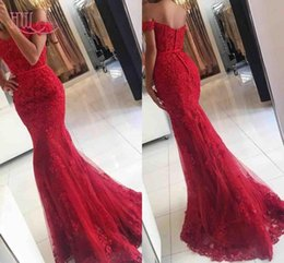 Wholesale Dresses Appiques - Sexy Prom Dresses Mermaid Off Shoulder Lace Appiques Women Formal Dresses Evening Wear 2017 Red Evening Gowns Cheap 2016 Custom