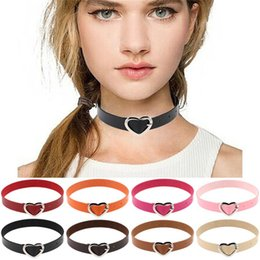Wholesale Stainless Steel Collars For Slaves - New Fashion PU leather Heart Choker Punk Goth necklace Mutilcolors Collar Torques Slave necklace for Women Jewelry