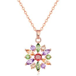 Wholesale Long Crystal Necklace Swarovski - 2017 Social Vintage Necklace Pendant Long Necklace Swarovski Crystal Glass Pendant Rose Gold Necklace For Women 022-NE0116