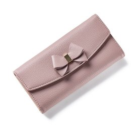 Wholesale Genuine Leather Evening Purse - Women Bow Wallet Long Solid Simple Hasp Women Purse Brand Female Wallet Clutch Lady Fashion Evening Bag Clutches 001