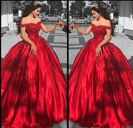 Wholesale Cheap Girls Dress Up - .Cheap Red Satin Quinceanera Dresses For Girls 2017 Ball Gown Off Shoulder Appliques Beads Long Sweet 16 Prom Dress Formal Gowns