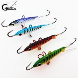 Wholesale Lead Baits - 4pcs Spoons Metal Fishing Jig Lure 8.3CM-18g Carp Fishing hooks Lead Hard Lure 10# Red hook Winter Fishing Lures