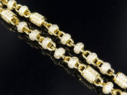 """Wholesale Lab Bar - Mens Yellow Gold Sterling Lab Diamonds Bar Round Link Necklace Chain 32"""""""