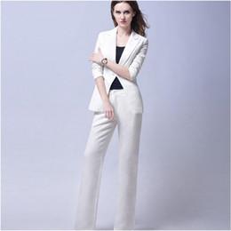 610df65b3617 White Trend Bussiness Formal Elegant Women Suit Set Blazers And Pants Office  Suits Ladies Pants Suits Trouser Suits (jacket+pants)