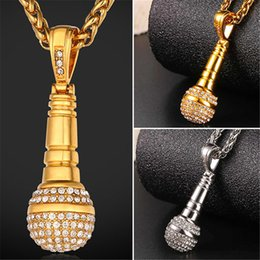 Wholesale Microphone Necklace Men - U7 New KTV Wireless Microphone Rhinestone Pendant Necklace Stainless Steel Gold Plated Rope Chain Collier Fashion Women Men Jewelry GP2439