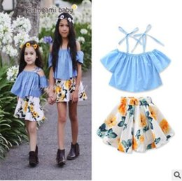 Wholesale Off Shouder - Girls Summer Outfits Set Ins Clothes 1-5Y Girs Cotton Off Shouder Tops Floral Skirt Dress Toddler Kids Clothing Casual Boutique Clothing