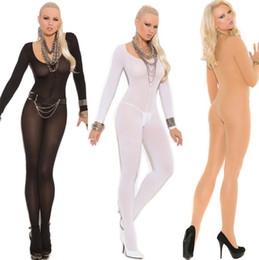 Wholesale Sexy Skinny - Sexy Lady Long Sleeve Full Body Stocking Open Crotch Bodysuit Lingerie Fashion