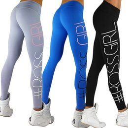 Wholesale Tight Fitting Girls - Women Sport Sex Yoga Leggings Boss Girl Leggins Elastic Tight fitting Pants Slim Fitness Pencil Fashion Trousers LWDK9 WR