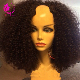Wholesale Wig Short Curly - 100% Unprocessed Malaysian Kinky Curly U Part Wig Glueless Virgin Human Hair 150 Density Short Curly Upart Wigs For Black Women