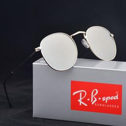 Wholesale Orange Box Design - high quality metal frame Round sunglasses women brand design fishing sun glasses uv400 Eyewear oculos de sol feminino with box and cases