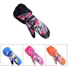 Wholesale Boys Waterproof Ski Gloves - Children Winter Warm Ski Gloves Boys Girls Sports Waterproof Windproof Snow Mittens Extended Wrist Skiing Gloves
