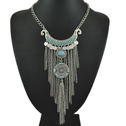 Wholesale turkish chain - Wholesale-Bohemian Long Tassel Necklace Women Boho Gypsy Coin Turquoise Statement Necklaces&Pendants Fashion Turkish Jewelry Collier Femme