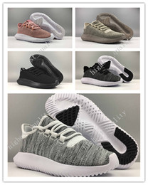 Wholesale Kids Knitted Boots - 2017 New Originals Tubular Shadow Adult And Kids Running Shoes Knit Core Black White Cardboard Tubular Shadow 3D 350 Boots Training Shoes