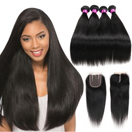 Wholesale Ombre Straight Hair - Peruvian Malaysian Mongolian Indian Brazilian Virgin Straight Hair Weaves 3 4 Bundles With Closure 8A Human Hair Bundle With Lace Closure