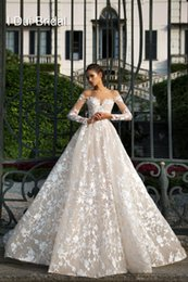 Wholesale Lace Gowns High Necklines - 2017 New Long Sleeve Lace Wedding Dresses Illusion Neckline High Quality Bridal Gown Factory Custom Made
