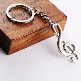 Wholesale Keyrings Musical Wholesalers - Silver Plated Musical Note Keychain For Car Metal Keyring Purse Messenger Bag Backpack Key Chain Pendant
