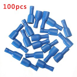 Wholesale Crimp Terminals Female - 100pcs FDFD1.25-110 Blue Fully Insulated Female Spade Wire Crimp Terminals Connectors 14-16AWG