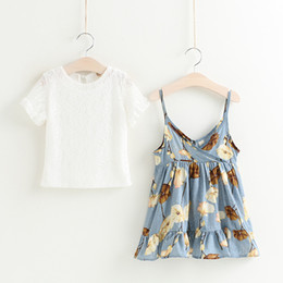 Wholesale Girl Holiday Outfits - Everweekend 2017 Girls Ruffles Floral Print Halter Dress with Lace Tees 2pcs Sets Cute Baby Summer Outfits Princess Holiday Clothing