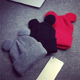 Wholesale Devil Horn Cat Ears Hat - 1pcs Hat Female Winter Caps Hats For Women Devil Horns Cat Ear Cute Crochet Braided Knit Beanies Warm Children Cap Hat Homme Gorro