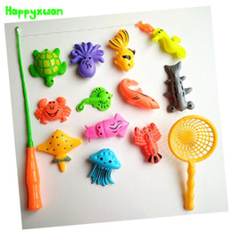 Wholesale Magnetic Game Set - 14pcs Set Magnetic Fishing Toy Game Kids 1 Rod 1 net 12 3D Fish Baby Bath Toys Outdoor Fun