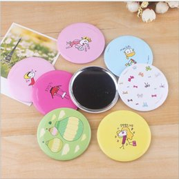 Wholesale Ladies Hand Mirror - Random Color Mini Ladies Compact Mirrors Hand-painted Small Portable Mirrors Assorted Patterns Cartoon Cosmetic Makeup Mirrors