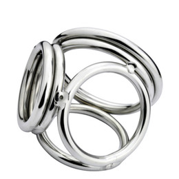 Wholesale Cock Ring Styles - New Male Delay Toys Steel Chastity Cock Rings NEW STYLE 4 Holes Two Size Can Chose Metal FETISH Delayed Ejaculating Ring
