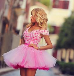 schatz rüsche prom blumen Rabatt Rosa Sexy Homecoming Kleid Semi Abschlussball-Kleid-Schatz-Sleeveless eine Linie gekräuselte Tulle-Blumen-Spitze oben zurück kurze Minilänge-Partei-Kleider