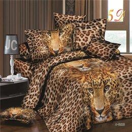 Wholesale Leopard Print Cotton Duvet Cover - Wholesale-2016 New Arrival 3d Bedding Sets Leopard Printed Queen Size 4Pcs Bedclothes Pillowcases Bed Sheet Duvet Cover Set.
