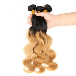 Wholesale Brazilian Virgin Hair Uk - Brazilian virgin hair 3bundles 1b 27 Ombre Human Hair Weave Brazilian Body Wave Brazilian Human Hair Extensions UK Free shipping