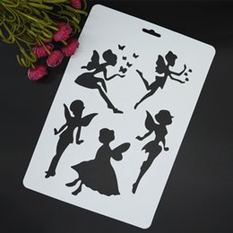 Wholesale Paper Embossing Tools - Wholesale- Angles Masking Spray Stencil For Walls Painting Embossing Paper Crafts Scrapbook Stamp DIY Tools Photo Album Card