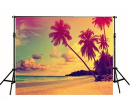 2017 superbes images photographiques Palm Trees Sunset Sandy Beach Photographie Fond d'écran Beautiful Clouds View Summer Holiday Photo Shoot Backdrop Nightfall Scenic Wallpaper superbes images photographiques offres