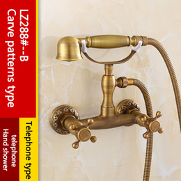 Wholesale Wall Hung Telephone - Archaistic Bathroom Simple Shower Suit Wall-hung Telephone type Rain mixer shower Antique Brass Low lead Thermostatic shower set with Hole