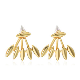 Chaquetas de pinchos online-Rock Punk Spike Smooth Marquise Forma Ear Stud Pendientes para mujeres Party Jewelry Gold Silver Plated Metal Ear Jacket
